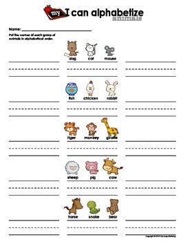 My I Can Alphabetize-Animals&Food Bundle Pack(Alphabetical Order Practice Sheet)