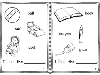 "My ""I like"" book. An easy reader with focus on sight word LIKE."