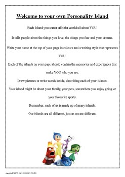 My INSIDE OUT Islands (All About Me) Worksheet