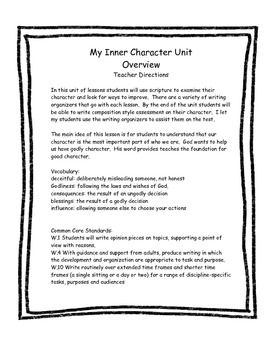 My Inner Character! A Scripture Based Writing Unit. Aligned with Common Core!
