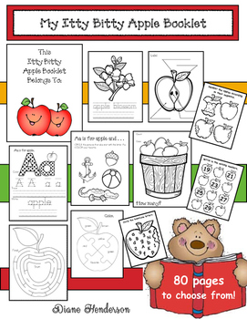 My Itty Bitty Apple Booklet (Mini LIteracy & Math Activities)