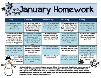 My January Homework Calendar