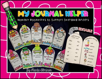 My Journal Helper - Monthly Bookmarks - EDITABLE