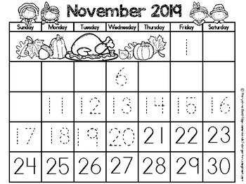 My Kindergarten Calendars: Number Writing Practice