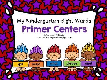 My Kindergarten Sight Words Primer Centers