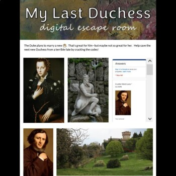 My Last Duchess Digital Escape Room Game