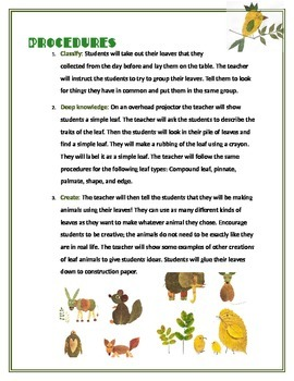 My Leaf Animal: Science classification of leaves, and visual arts.