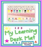 Desk mat for letters and numbers