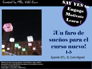 Mis metas en el curso nuevo-Spanish Writing Activity Core Aligned 1-5