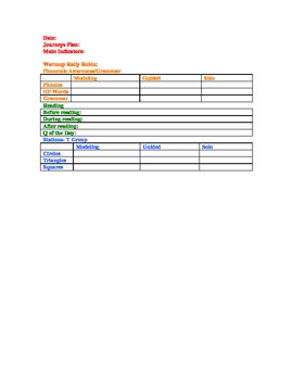 My Lesson Planning Template for First Grade Journeys