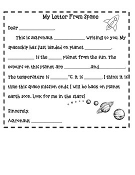 my letter from space template by the modernistic teacher tpt