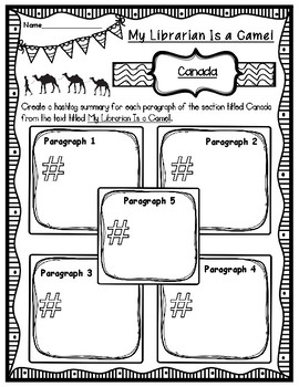 My Librarian Is a Camel Hashtag Summary of Canada Graphic Organizer