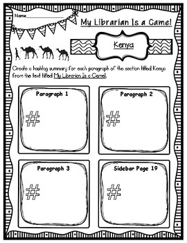 My Librarian Is a Camel Hashtag Summary of Kenya Graphic Organizer