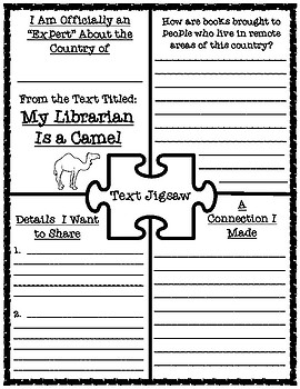 My Librarian Is a Camel Text Research Graphic Organizer