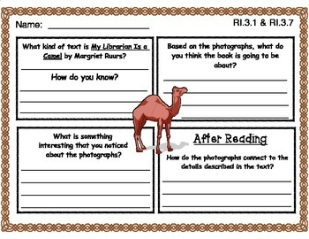 My Librarian Is a Camel by Margriet Ruurs Picture Walk Graphic Organizer