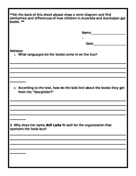 My Librarian is a Camel: Text Questions for Each Country / EL Grade 3 Module 1