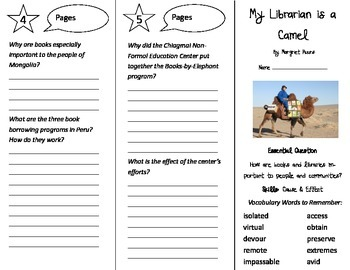 My Librarian is a Camel Trifold - Journeys 4th Grade Unit 1 Week 3 (2014, 2017)
