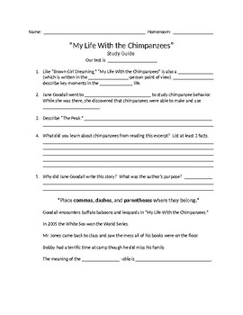 My Life With the Chimpanzees Study Guide myPerspectives 6th grade