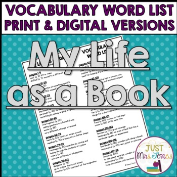 My Life as a Book Vocabulary Word List