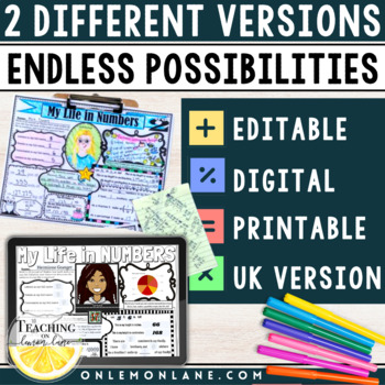Back to School Math All About Me (Get to Know You) First Day Upper Grades