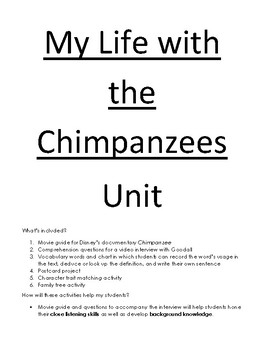 My Life with the Chimpanzees - Activity Packet
