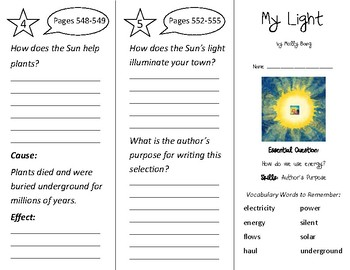 My Light Trifold - Wonders 2nd Grade Unit 6 - Independent Reading (2020)