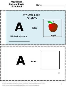 Alphabet Letters Practice Book Beginning Sounds Cut & Paste Matching Activities