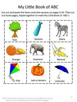 Alphabet Book Printable, Letter Sounds A-Z, Kindergarten Cut and Paste Activity