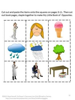 Opposites Vocabulary Activities Student Made Book ESL Special Education Speech