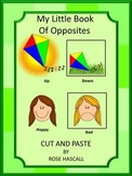 Opposites Activities Cut and Paste Opposites Book, ESL Speech Therapy Special Ed