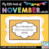 My Little Book of November Words + coordinating word wall signs