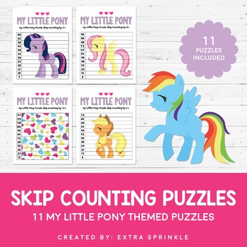 My Little Pony Inspired 2 to 12 Skip Counting Puzzles