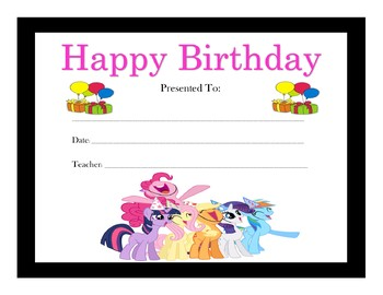 My Little Pony Birthday Certificates (Includes 6 Certificates)