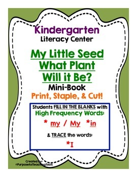 My Little Seed Mini Book - Kindergarten Literacy Centers Life Cycle of Plants
