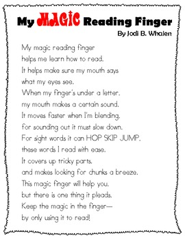 My Magic Reading Finger Poem