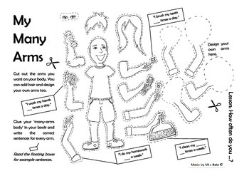 My Many Arms Worksheet - To Talk about Routines