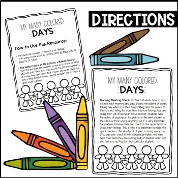 My Many Colored Days Social Emotional Activity + Morning Meeting