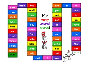 My Many Colored Words Reading Game