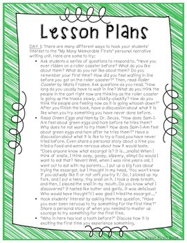 """My Many Memorable Firsts"" Common Core Personal Narrative Writing Unit"