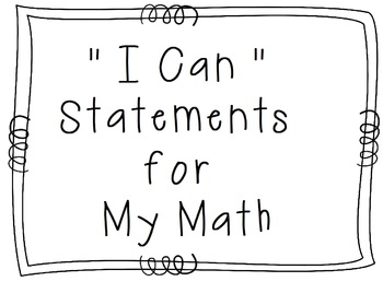"My Math - 2nd Grade - ""I Can"" Statements"
