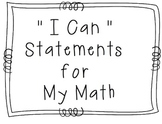 "My Math - 2nd Grade - ""I Can"" Statements"