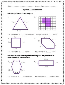 My Math - 3rd Grade - Chapter 13 - Perimeter and Area Worksheets