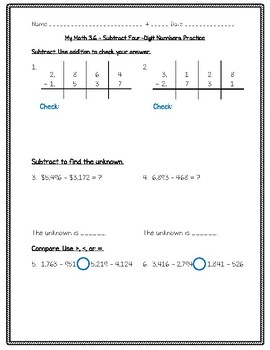 My Math - 3rd Grade - Chapter 3 - Subtraction Worksheets