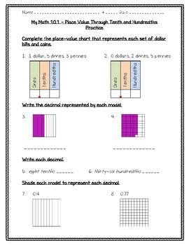 My Math 4th Gr Ch 10 - 10.1 - Lesson 1 - Place Value through 10ths &100ths