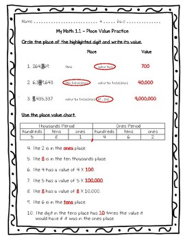 My Math 4th Grade - Chapter 1 - 1.1 - Place Value Worksheet