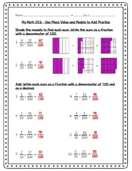 My Math - 4th Grade - Chapter 10 - Fractions and Decimals Worksheets
