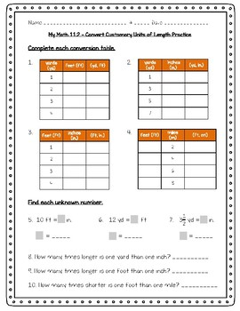 My Math - 4th Grade - Chapter 11 - Customary Measurement Worksheets