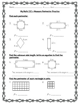 My Math - 4th Grade - Chapter 13 - Perimeter and Area Worksheets