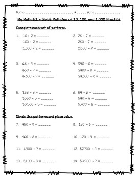 Dividing By Multiples Of 10, 100, 1000 Worksheets & Teaching ...