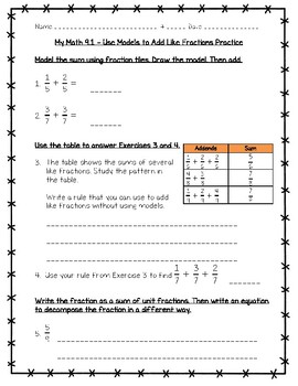My Math 4th Grade Chapter 9 - 9.1 - Lesson 1 - Use Models to Add Like Fractions